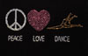 "LT285 ""Peace, Love, Dance"" Heat Transfer"